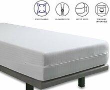 Tural - Extra elastischer und widerstandsfähiger Matratzenbezug/Matratzenüberzug. Reißverschluss. Kleine Kinderbettgröße 60x120cm