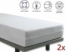 Tural Extra elastischer und widerstandsfähiger Matratzenbezug/Matratzenüberzug. Reißverschluss. Set mit 2 Einzelgrößen 90x200cm