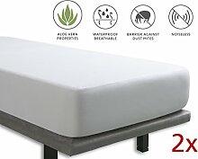 Tural - Matratzenschoner mit Aloe Vera-Behandlung Wasserdicht und atmungsaktiv. Frottee aus 100% Baumwolle. Wasserundurchlässige matratzenauflage Größe Pack x2 90x190/200cm