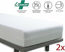 Tural - Wasserdichter und Atmungsaktiver Anti-Milben-Matratzenbezug. 2er Set Größe 90x190/200cm Matratzenschoner/Matratzen-Auflage