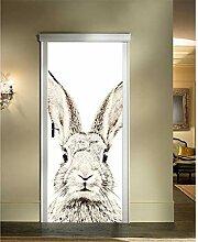 Turaufkleber Türtapete 3D Grey Rabbit Door