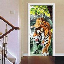 Turaufkleber Türtapete 3D Tiger Photo Wallpaper