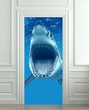 Turaufkleber Türtapete 3D Whale Open Mouth Tür