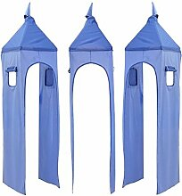 Turm für Hochbett Spielbett Turmstoff Turm Stoff-Set, Farbe: Hellblau / Dunkelblau