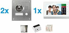 """TURM IP 2 Draht Video Türsprechanlage, 1,3 Megapixel Kamera, 1x 7"""" Innenstation, 2x Außenstation, Einfamilienhaus Se"""