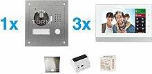 """TURM IP 2 Draht Video Türsprechanlage, 1,3 Megapixel Kamera, 3x 7"""" Innenstation, 1x Außenstation, Einfamilienhaus Se"""