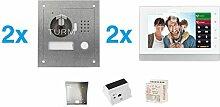 """TURM IP 2 Draht Video Türsprechanlage, 1,3 Megapixel Kamera, 2x 7"""" Innenstation, 2x Außenstation, Einfamilienhaus Se"""