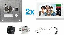 """TURM IP Netzwerk Video Türsprechanlage, 1,3 Megapixel Kamera, 2x 7"""" Innenstation, Einfamilienhaus Se"""