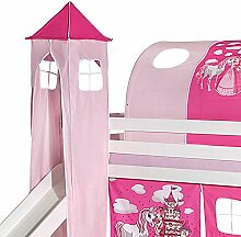 Turm PRINZESSIN zu Bett mit Rutsche, Spielbett, Rutschbett, Kinderbett in pink/rosa