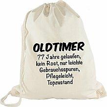 Turnbeutel - Oldtimer Geburtstag 77 Jahre - Birthday 77 Years Fun Geschenkidee, Beige