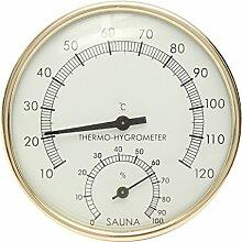 Tutoy 3.9 Edelstahl Goldrand Sauna Raumthermometer Hygrometer -0 °C ~ 120 °C