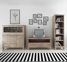 TV Anbauwand aus Eiche Massivholz Weiß geölt