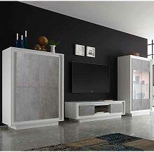 TV Anbauwand in Grau Weiß LED Beleuchtung