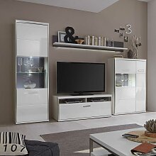 TV Anbauwand in LED Beleuchtung Hochglanz Weiß