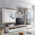 TV Anbauwand in Weiß Hochglanz Eiche hell LED Beleuchtung (4-teilig)