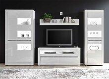 TV Anbauwand in Weiß Hochglanz und Beton Grau
