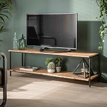 TV Bank aus Akazie Massivholz und Metall 150 cm