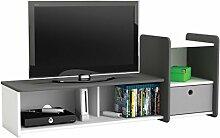 TV-Bank FOOT #610 weiß anthrazit TV Tisch Phonomöbel HiFi Schrank Kinderzimmer