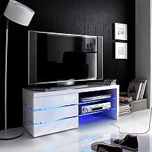 TV Bank mit Beleuchtung Weiß Hochglanz