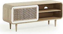 TV Board aus Holz massiv mit Rattan Geflecht