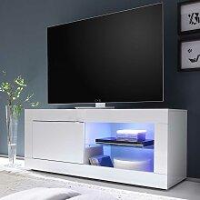 TV Board in Hochglanz Weiß 140 cm breit