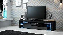 TV Board Lowboard JACK Schwarz Hochglanz 200cm