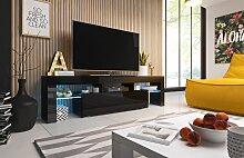 TV Board Lowboard TORIS Schwarz Hochglanz 158cm