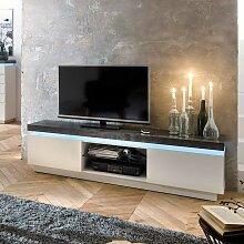TV Board mit LED Beleuchtung Weiß Dunkelgrau