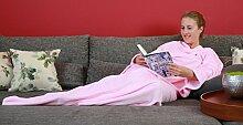 TV-Decke Kuscheldecke Mikrofaserdecke Wohndecke Ärmeldecke mit Ärmel 130x180 (pink)