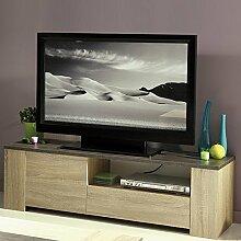 TV Lowboard beige B 138 cm eiche natur Kinderzimmer Jugendzimmer TV & Mediamöbel Hifi Rack Regal Phonotisch Longboard Fernsehschrank Kommode