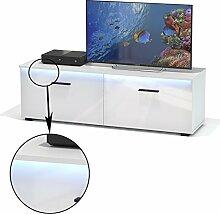 TV Lowboard Fernsehbank Fernsehschrank MALIBU in weiß hochglanz mit LED Beleuchtung 138 cm brei