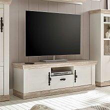 TV Lowboard im Landhaus Design Kiefer Weiß