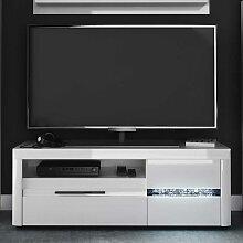 TV Lowboard in Weiß Hochglanz LED Beleuchtung