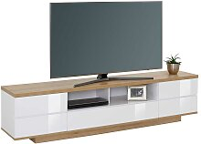 TV Lowboard in Weiß Hochglanz und Eiche Optik 200