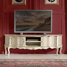 TV Lowboard in Weiß und Goldfarben verziert