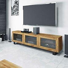 TV Lowboard mit Glastüren Wildeiche Massivholz
