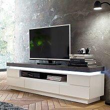 TV Lowboard mit LED Beleuchtung Weiß Grau