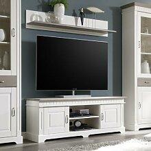 TV-Lowboard mit Wandregal weiß Massivholz 144 cm