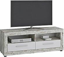 TV Lowboard VIEW Fernsehtisch TV Sideboard mit 2 Fächern und 2 Schubladen in Shabby Chic/weiß