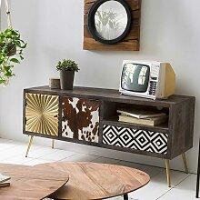 TV Möbel in Holz Antik einer Schublade