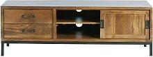TV-Möbel mit 1 Tür und 2 Schubladen aus massivem