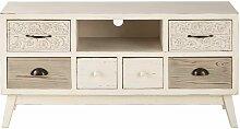 TV-Möbel mit 6 Schubladen aus Tannenholz Rumba