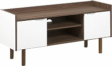 TV-Möbel TV-Lowboard dunkler Holzfarbton/weiß