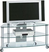 TV-RACK , Alu , Glas , 95x53x52 cm , Wohnzimmer,