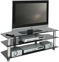 TV-RACK Glas, Metall Chromfarben, Schwarz