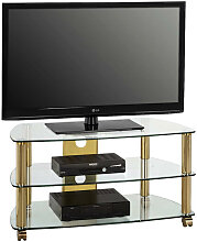 TV-RACK Glas, Metall Klar, Messingfarben