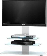 TV Rack in Weiß mit blauer Beleuchtung