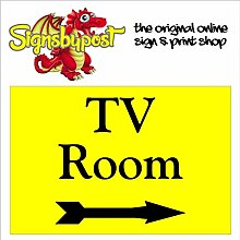 TV Raum mit Rechts Pfeil Schild aus Aluminium