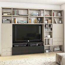 TV Regal in Beige und Eiche Schwarz Braun 310 cm