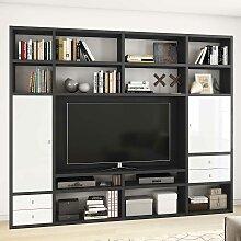 TV Regal in Eiche Schwarz Braun und Weiß